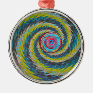 Abstract Design Yellow Blue Whirlwind Metal Ornament