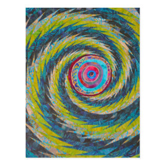 Abstract Design Yellow Blue Whirlwind Postcard