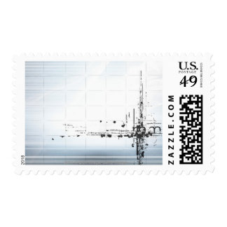 Abstract designs on grid stamp