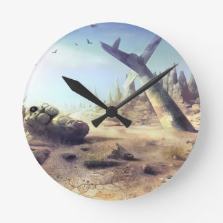 Abstract Destruction Lost Fortune Copter Round Wallclocks