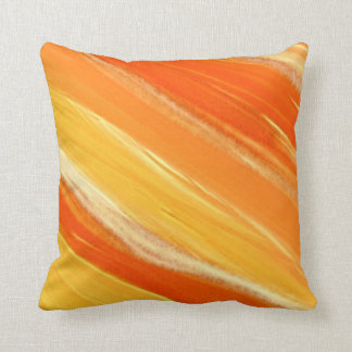 Abstract Diagonal Orange and Yellow Stripes Throw Pillow