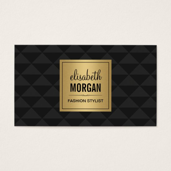 Abstract Diamond Style - Elegant Luxury Black Gold Business Card