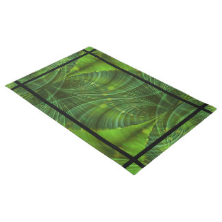 Abstract Digital Art - Time Tunnel green Doormat