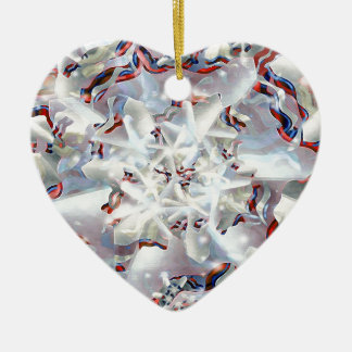 Abstract Digital Artwork Double-Sided Heart Ceramic Christmas Ornament