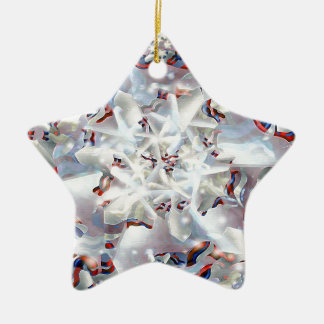 Abstract Digital Artwork Double-Sided Star Ceramic Christmas Ornament