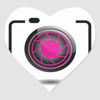 Abstract Digital camera Heart Sticker