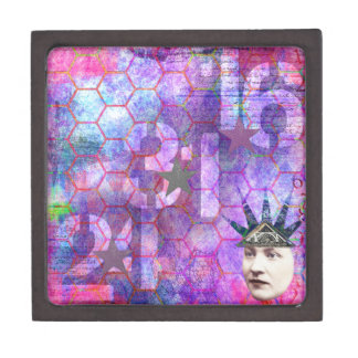 Abstract Digital Collage Premium Trinket Box
