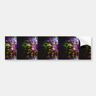 ABSTRACT DIGITAL FRACTAL ART RECTANGLE SHAPES COLO BUMPER STICKER