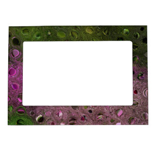 ABSTRACT/DIGITAL MANIP./GREENS AND MAGENTA COLORS MAGNETIC FRAME