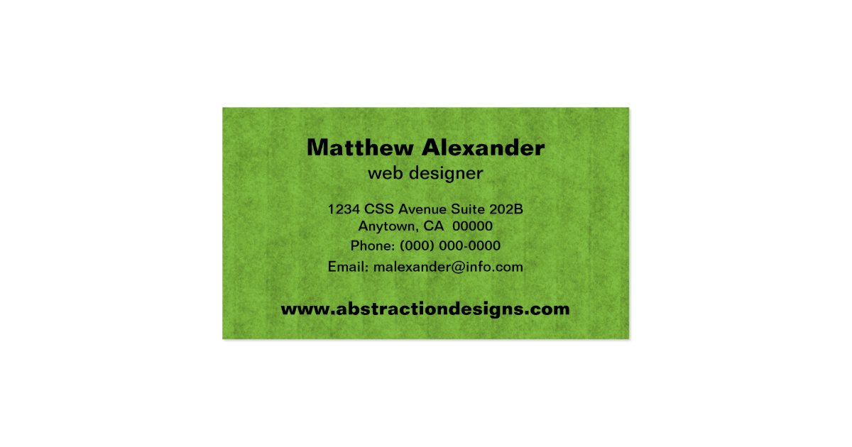Abstract Dimensions Business Card Bright Green Business