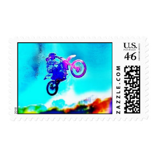 Abstract Dirt Bike Motocross Postage Stamp
