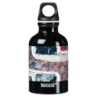 Abstract distressed red and blue bottle