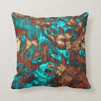 Abstract Distressed Turquoise Cream Brown Texture Throw Pillow