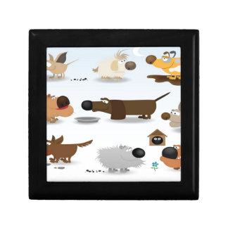 Abstract dogs icons design keepsake box
