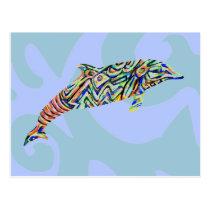 Abstract Dolphin Art Postcard