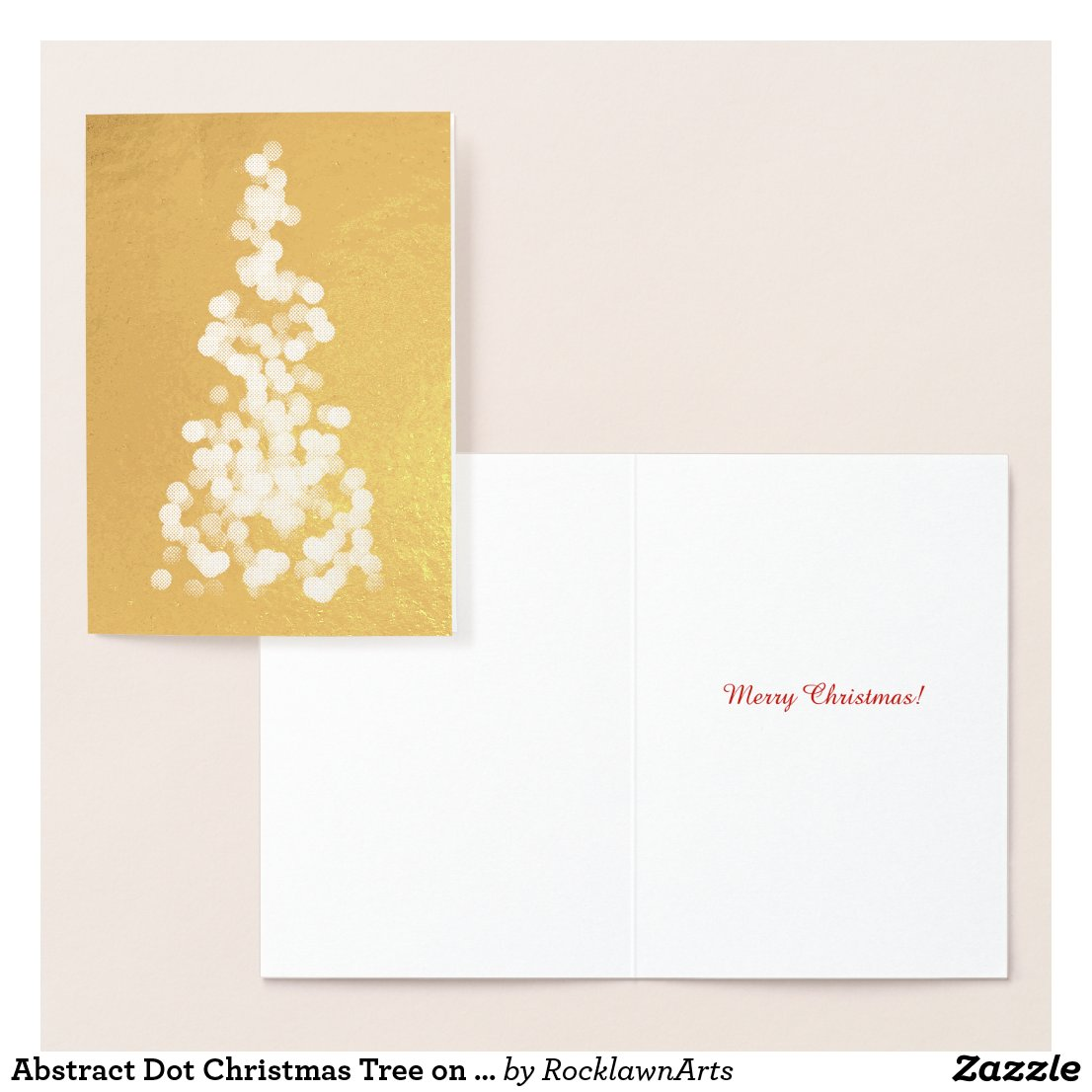 Abstract Dot Christmas Tree on Gold Foil Card