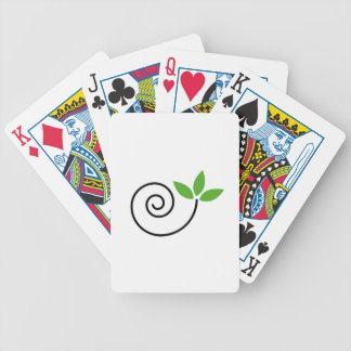 Abstract drawing of a cute snail with green leaves playing cards