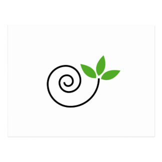 Abstract drawing of a cute snail with green leaves postcard