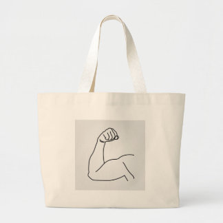 Abstract drawing of a man's arm flex large tote bag