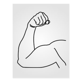 Abstract drawing of a man's arm flex postcard