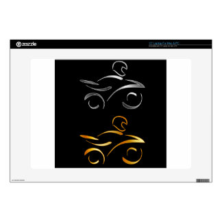 Abstract drawing of a motorbike and biker decals for laptops