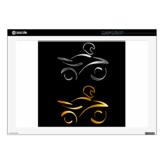 Abstract drawing of a motorbike and biker laptop skin