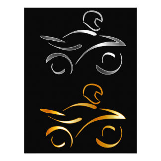 Abstract drawing of a motorbike and biker letterhead