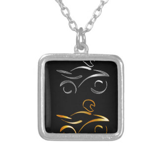 Abstract drawing of a motorbike and biker square pendant necklace