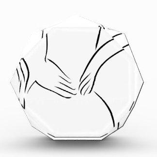 Abstract drawing of a person having backache acrylic award
