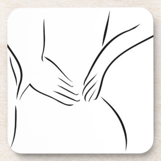 Abstract drawing of a person having backache coaster