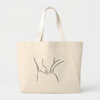 Abstract drawing of a person having backache jumbo tote bag