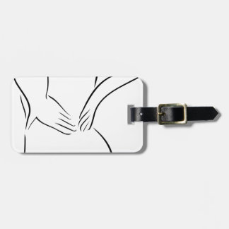 Abstract drawing of a person having backache luggage tag