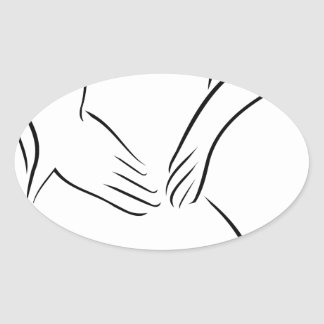 Abstract drawing of a person having backache oval sticker