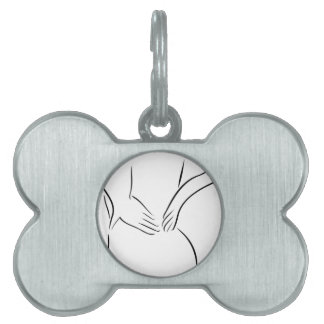 Abstract drawing of a person having backache pet ID tag