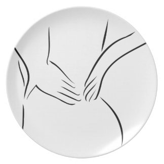Abstract drawing of a person having backache plate