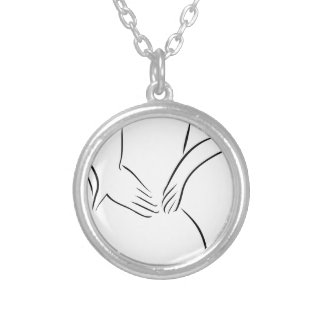 Abstract drawing of a person having backache silver plated necklace