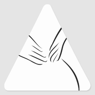 Abstract drawing of a person having backache triangle sticker