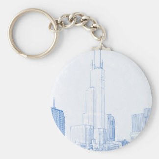 Abstract Drawing of Chicago No1 Keychain