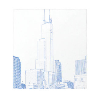 Abstract Drawing of Chicago No1 Notepad