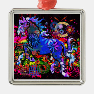 Abstract Dream Design Horse Square Metal Christmas Ornament
