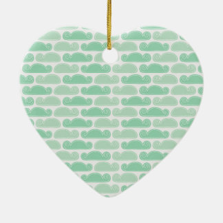 Abstract Dreamy Mint Green Clouds Heart Ornament