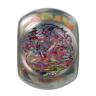 Abstract Eagle Bass and Bear Tribal Art Glass Candy Jars