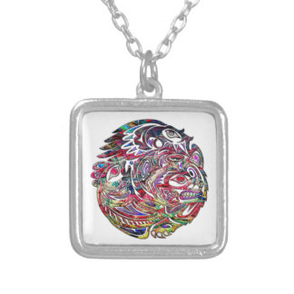 Abstract Eagle Bass and Bear Tribal Art Silver Plated Necklace