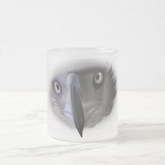 Abstract Eagle Face Frosted Glass Mug
