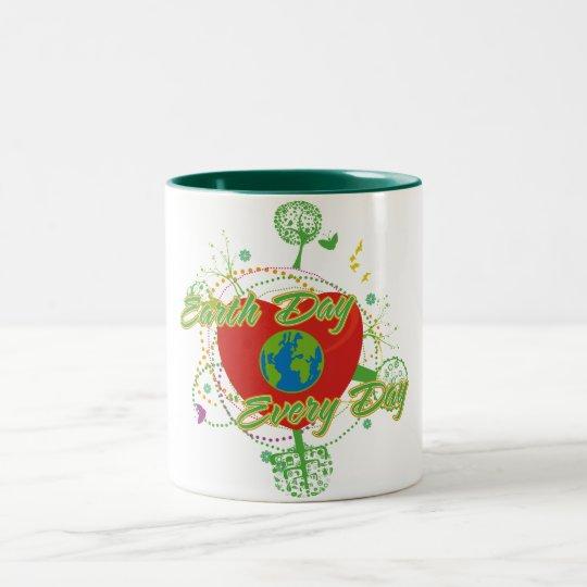 Abstract Earth Day Two-Tone Coffee Mug