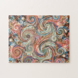 Abstract Earth Pastel Swirls Puzzle