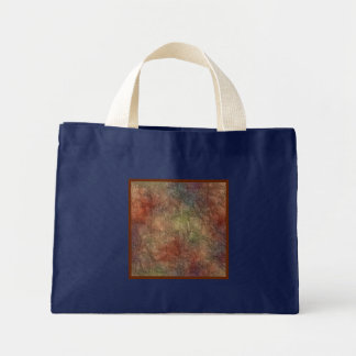 Abstract Earth Tone Colors Small Navy Blue Mini Tote Bag