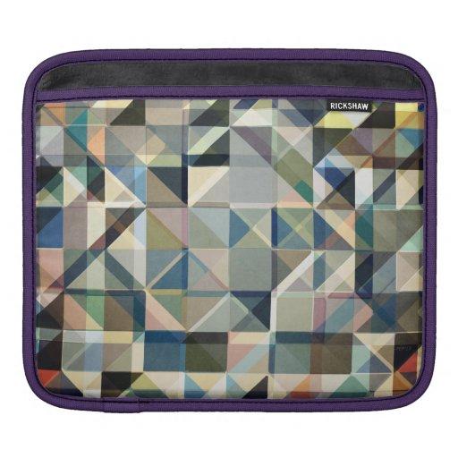 Abstract Earth Tone Grid iPad Sleeves