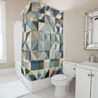 Abstract Earth Tone Grid Shower Curtain
