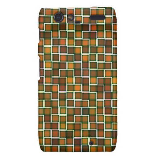 Abstract Earth Tone Mosaic Squares Pattern Droid RAZR Cover